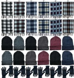 Winter Bundle Care Kit Adult UniseX- Hats Gloves Beanie Fleece Scarf Set In Assorted Colors