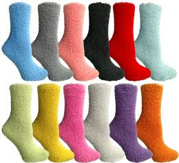 Yacht & Smith Women's Solid Colored Fuzzy Socks Assorted Colors, Size 9-11