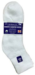 Yacht & Smith Men's Loose Fit NoN-Binding Soft Cotton Diabetic Quarter Ankle Socks,size 10-13 White