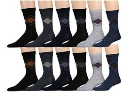 Mens Cotton Blend Dress Socks, Stylish Patterns
