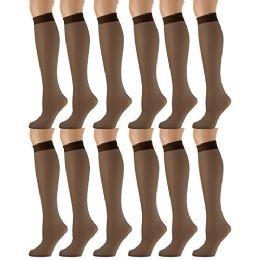 Yacht & Smith Trouser Socks For Women, 20 Denier Knee High Dress Socks French Coffee