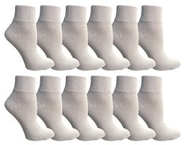 Yacht & Smith Women's Diabetic Cotton Ankle Socks Soft NoN-Binding Comfort Socks Size 9-11 White
