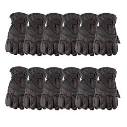 Yacht & Smith Mens Winter Warm Waterproof Ski Gloves, One Size Fits All Black