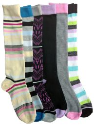 6 Pairs Of Mod And Tone Woman Designer Knee High Socks, Boot Socks (pack b)