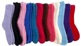 Yacht & Smith Women's Solid Colored Fuzzy Socks Assorted Colors Size 9-11