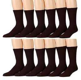 Yacht & Smith Women's Cotton Crew Socks, Solid Brown