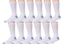 12 Pairs Of Wsd Mens Cotton Crew Socks, Solid, Athletic (white W/ Gray Heel & Toe)