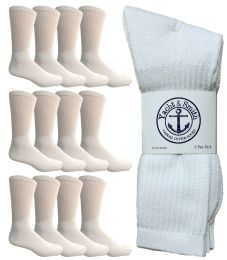Yacht & Smith King Size Men's Cotton Terry Cushion Crew Socks, Sock Size 13-16 White