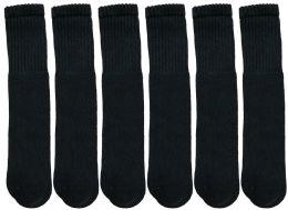 Yacht & Smith Kids Solid Tube Socks Size 6-8 Black
