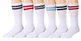 Yacht & Smith Women's Cotton Striped Tube Socks, Referee Style Size 9-15 22 Inch