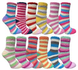 Womens Fuzzy Socks Crew Socks Warm Butter Soft Assorted Stripes