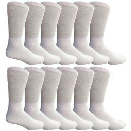 Yacht & Smith Men's Loose Fit NoN-Binding Soft Cotton Diabetic Crew Socks Size 10-13 White