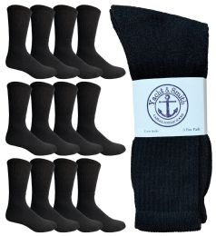 Yacht & Smith Men's Cotton Crew Socks Black Size 10-13