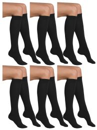Yacht & Smith Girls Knee High Socks, Solid Colors Black