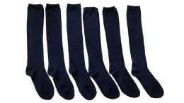 Yacht & Smith Girls Knee High Socks, Solid Colors Navy