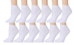 Yacht & Smith Women's Premium Cotton Ankle Socks White Size 9-11