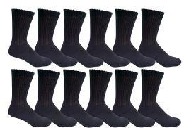 Yacht & Smith Women's Cotton Diabetic NoN-Binding Crew Socks Size 9-11 Black