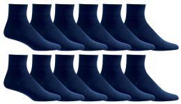 Yacht & Smith Men's Loose Fit NoN-Binding Soft Cotton Diabetic Quarter Ankle Socks,size 10-13 Navy
