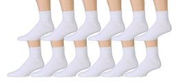 Yacht & Smith Kids Cotton Quarter Ankle Socks In White Size 4-6