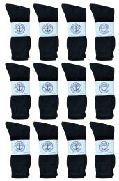 Yacht & Smith Mens Athletic Crew Socks , Soft Cotton, Terry Cushion, Sock Size 10-13 Black