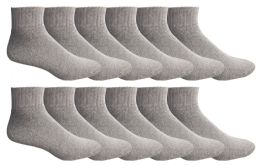 Yacht & Smith Men's Cotton Sport Mid Ankle Socks Size 10-13 Solid Gray