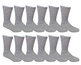 12 Pairs Value Pack Of Wholesale Sock Deals Mens Crew Socks, Light Anthra 10-13