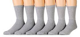 6 Pairs Of Men's Heavy Duty Steel Toe Work Socks, Gray, Sock Size 10-13