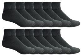 Yacht & Smith Men's Premium Cotton Quarter Ankle Sport Socks Size 10-13 Solid Black