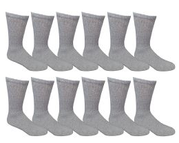 Yacht & Smith Men's Cotton Crew Socks Gray Size 10-13