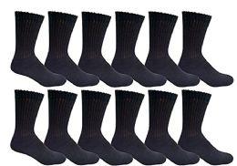 Yacht & Smith Women's Cotton Crew Socks Black Size 9-11