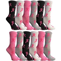 Yacht & Smith Womens Breast Cancer Awareness Pink Ribbon Crew Socks Size 9-11