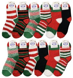 Christmas Fuzzy Socks, Fun Colorful Festive, Holiday Theme Socks Womens Size 9-11
