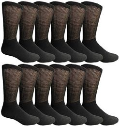 Yacht & Smith Men's King Size Loose Fit NoN-Binding Cotton Diabetic Crew Socks Black Size 13-16