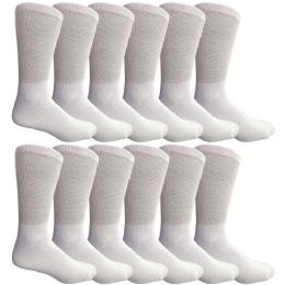 Yacht & Smith Men's King Size Loose Fit NoN-Binding Cotton Diabetic Crew Socks White Size 13-16