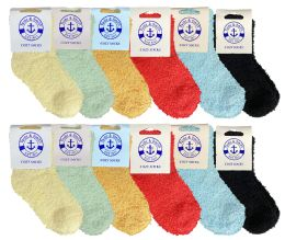 Yacht & Smith Kids Solid Colored Fuzzy Socks, Sock Size 4-6
