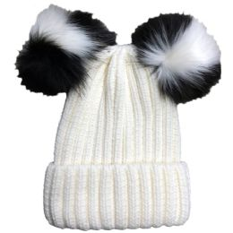Yacht & Smith Womens 3 Inch Double Pom Pom Ribbed Beanie Hat, Cream