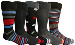 Yacht&smith 5 Pairs Of Mens Dress Socks, Colorful Fun Pattern Design, Casual (assorted m)