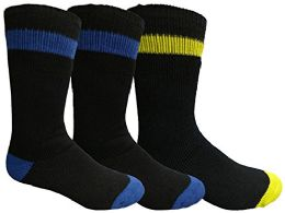 Yacht&smith 3 Pairs Mens Brushed Socks, Warm Winter Thermal Crew Sock