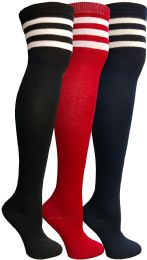 Yacht & Smith Womens Over The Knee Socks, Referee Style Thigh High Knee Socks , Striped Red, Navy, Black