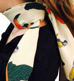 Yacht&smith Neck Scarf With Buckle, 50s Style Retro, Vintage Tie Shawl Wrap (parrots)