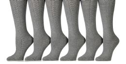 6 Pack Yacht&smith Womens Knee High Socks, Comfort Soft, Solid Colors (gray)