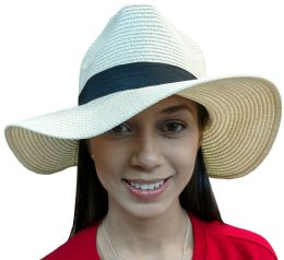 Yacht & Smith Floppy Stylish Sun Hats Bow And Leather Design, Style B - White