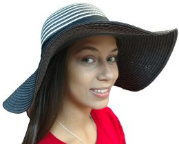 Yacht & Smith Floppy Stylish Sun Hats Bow And Leather Design, Style C - Black