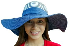 Yacht & Smith Floppy Stylish Sun Hats Bow And Leather Design, Style C - Navy