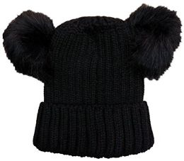 Yacht & Smith 4 Pack Of Womens Double Pom Pom Beanie Hat, Winter Cable Knit Hat, Warm Cap (black)