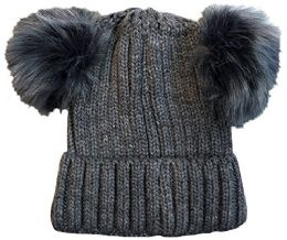 Yacht & Smith 4 Pack Of Womens Double Pom Pom Beanie Hat, Winter Cable Knit Hat, Warm Cap (charcoal)