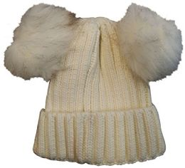 Yacht & Smith 4 Pack Of Womens Double Pom Pom Beanie Hat, Winter Cable Knit Hat, Warm Cap (white)