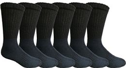Mens AntI-Microbial Crew Socks, Comfort Knit Ringspun Cotton, Terry Lined, (6 Pack Black)