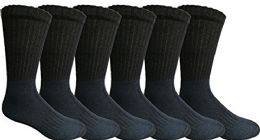 Mens AntI-Microbial Crew Socks, Comfort Knit Ringspun Cotton, Terry Lined (6 Pack Navy)
