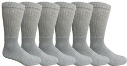 Mens AntI-Microbial Crew Socks, Comfort Knit Ringspun Cotton, Terry Lined (6 Pack Gray)